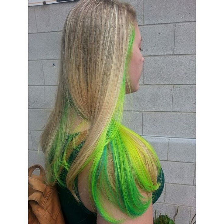 Blonde with Neon Yellow and Green Underneath