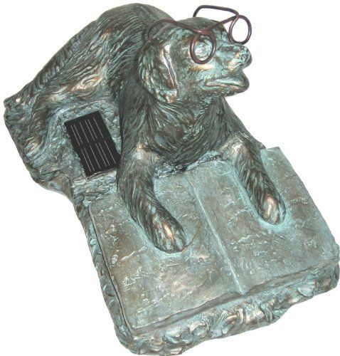 Zoobox, ZRA-S0101, Reading Dog, Solar by Zoobox. $32.95. High quality Resin. Book illuminates at night.. Battery stores power while the sun is out.. high Quality Solar Technology. On/Off switch allows you to turn the light off.. One of a kind outdoor statue glows at night, promotes reading and adds a new look to any outdoor setting. Durable resin will last.. Save 18% Off!