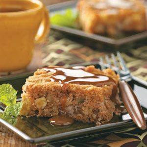 Fresh Apple Cake with Caramel Sauce Recipe from Taste of Home -- shared by Mrs. Karl Zank of Sand Lake, Michigan