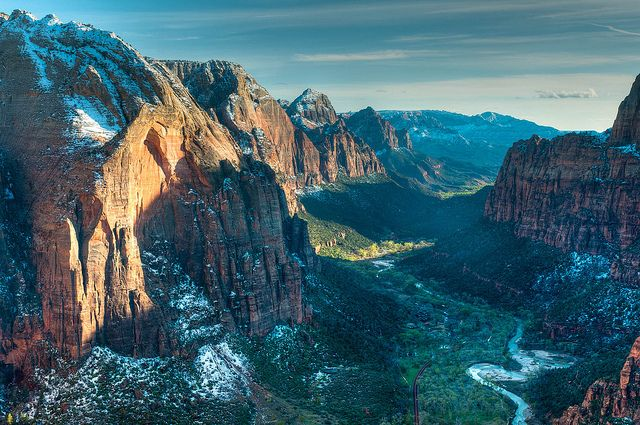 Zion valley and Virgin River seen from Angels Landing in Zion National Park, Utah