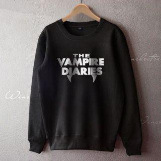 Preto The Vampire Diaries moletom velo para homens