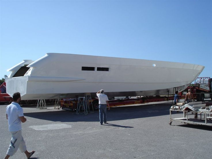 Hull ready to be moved in Viareggio by truck