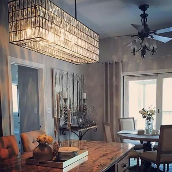 Pottery Barn Adeline Chandelier looks dramatic over this kitchen island, but would be even better over the dining room table.   http://pbsoci.al/bq1Mf #lightinggame #mypotterybarn