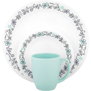 I really like corelle dishes and this teal/grey with touches of purple is so pretty
