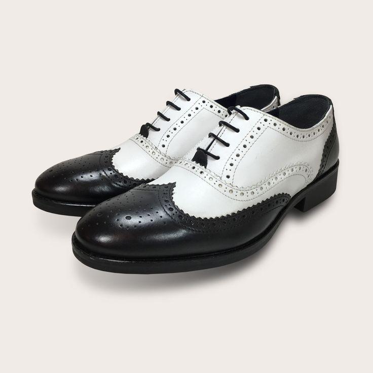 Buy Black and white brogues men's spats shoes. Spats or spectator shoes are  an iconic design from the the era of Gatsby, gangsters and art deco.