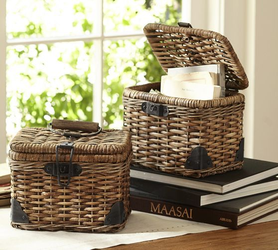 Daytrip Lidded Small Basket | Pottery Barn ~ How cute would this be for recipe cards?