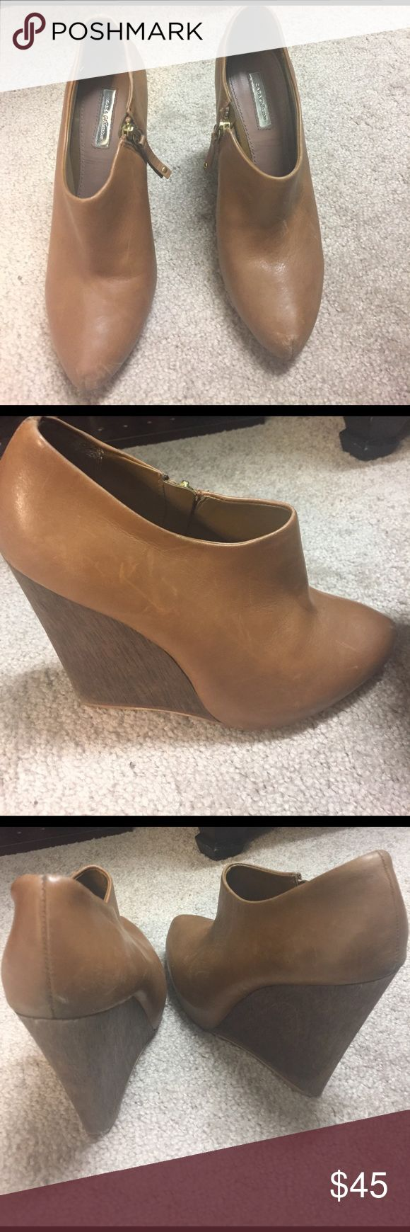 Zara Wedge Ankle Boots Adorable leather ankle boots in a camel leather with side zip and wooden heel Zara Shoes Ankle Boots & Booties