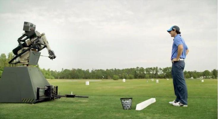 """欧州ゴルフツアーのプロモーション動画 """"プロゴルファーとおしゃべりロボットがスイング対決""""     AdGang"""