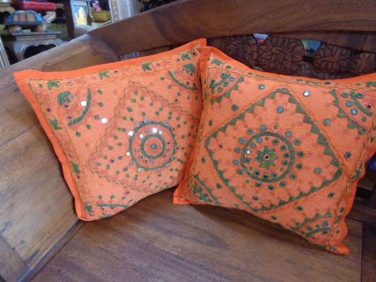SWEET 1 X INDIAN ETHNIC MIRRORED EMBROIDERED BOHO CUSHION COVER 40X40CM $12.50