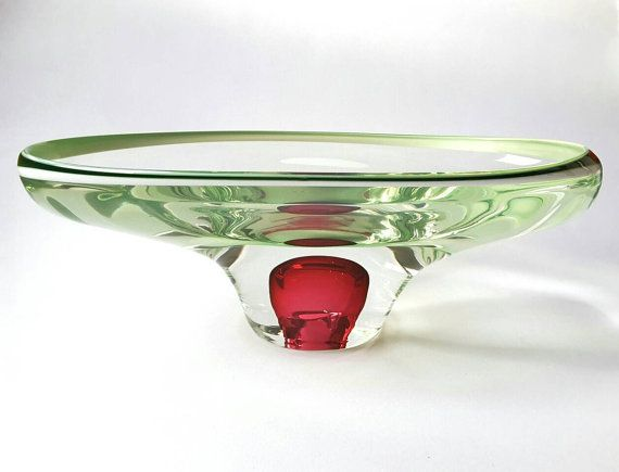 ZELDZAME Tsjechische Josef Hospodka Chribska glazen kom ~ duidelijk, groen en paars glas Bowl ~ Vintage Art Glass Bowl ~ Boheemse handgemaakte glazen kom