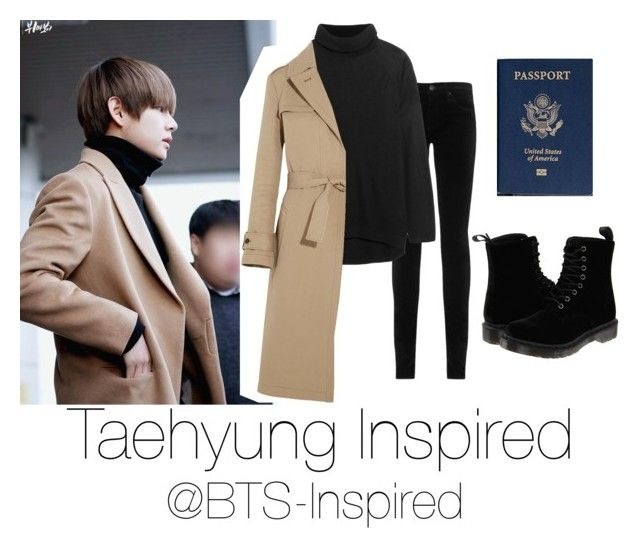 """""""Taehyung Inspire Airport Fashion"""" by bts-inspired ❤ liked on Polyvore featuring AG Adriano Goldschmied, This Is Ground, Dr. Martens, Line and Jil Sander"""