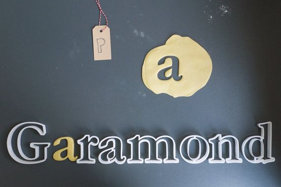 Garamond font cookie cutter set 3D printed by Printmeneer on Etsy