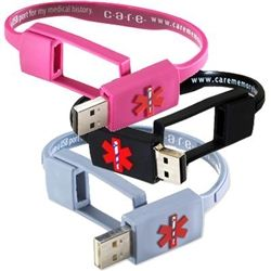 USB Medical Bracelet. So great for someone with complicated medical issues or lots of allergies. Want one for the Mr.