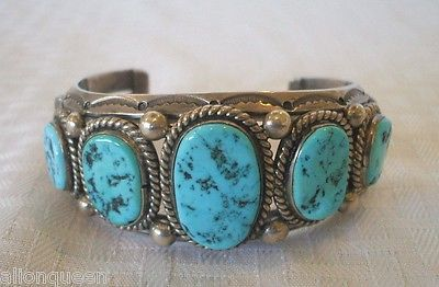 Signed-Vintage-Navajo-HARRISON-JIM-Sterling-Silver-TURQUOISE-Cuff-BRACELET-103g