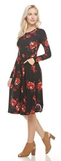 Check out this cute floral midi length pocket dress! It features a soft material, 95% polyester 5% spandex, long sleeves, and is so comfortable, modest and stylish!