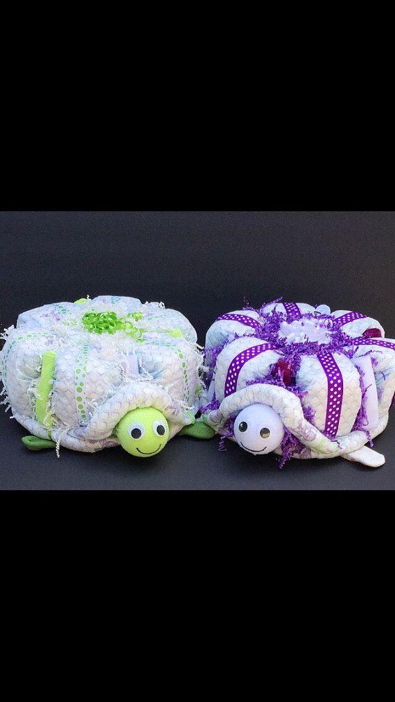 Twin turtle diaper cakes, twin diaper cake, turtle diaper cake, boy girl twins…