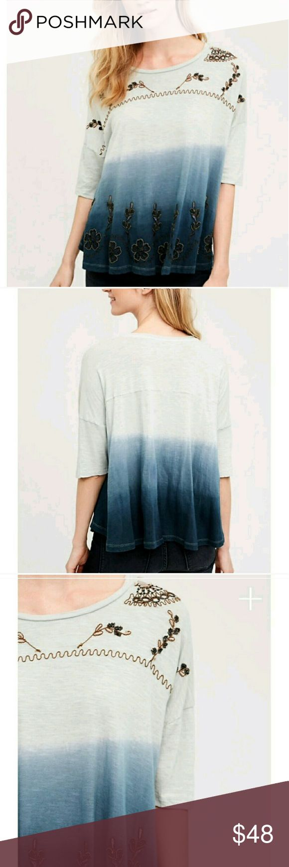 Tulsa swing tee Beautiful beads details, ombre effect, flawless,  loose fit, tag is small , but runs large more like a medum, or 6/8. Anthropologie Tops Tees - Short Sleeve