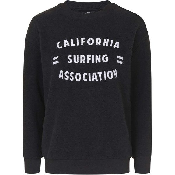 TOPSHOP PETITE California Surfing Motif Sweat ($50) ❤ liked on Polyvore featuring activewear, black, petite, petite activewear, topshop and petite sportswear