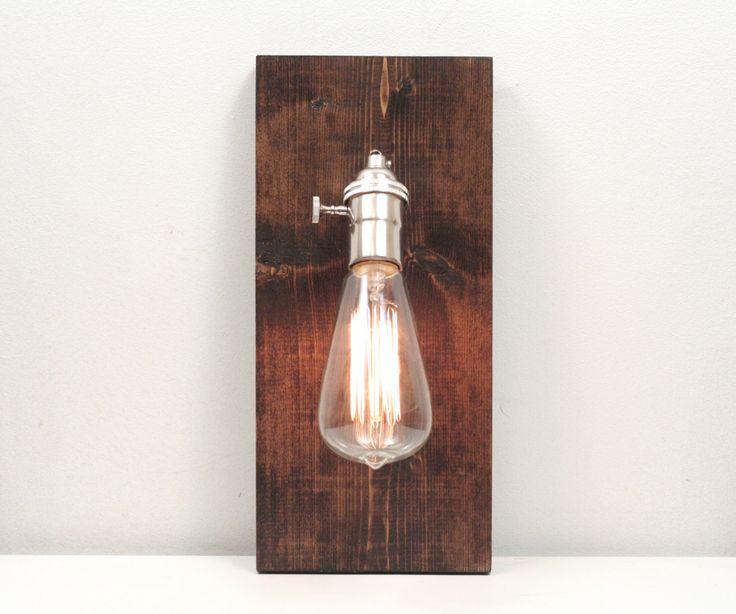 Wooden Wall Sconce- Rustic Wall Sconce, Dark Walnut, Exposed Edison Bulb Lighting, Rustic Night Light.