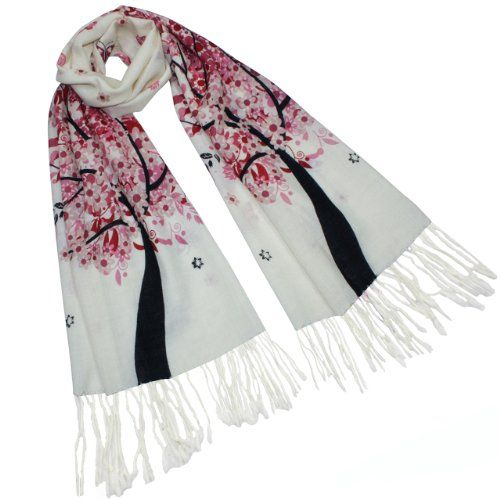 Pashmina/Cashmere Spring Butterfly Pink Blossom Tree Tassel Ends Long Scarf Shawl