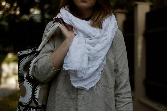 White Linen Scarf Light Scarf Soft Scarf Scarf for Her Boho