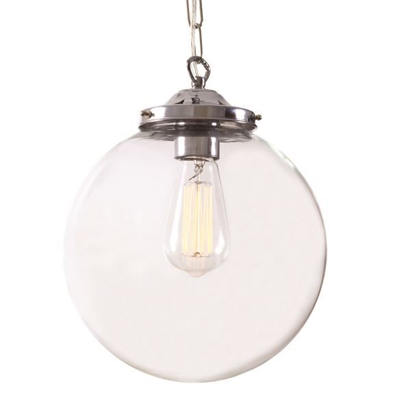 Evoking Early Industrial Lighting The Riad Clear Globe Pendant Retain Classic Lines And Exposed Hardware Of Originals This Light Is