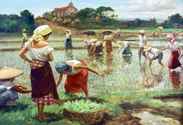 Planting rice by filipino painter Fernando Amorsolo