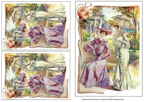 A Fine Day Toppers on Craftsuprint designed by Elizas Emporium - Two Edwardian ladies sitting in the park x 3 - Now available for download!