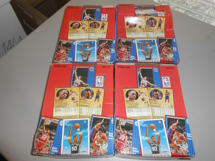 Lot of 4 complete 199192 fleer basketball card boxes
