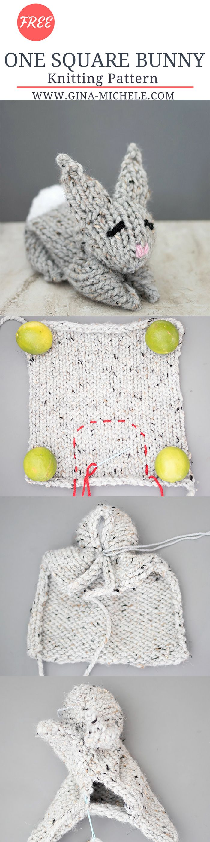 Free knitting pattern for this One Square Knit Bunny. If you can knit a square, you can make this bunny!