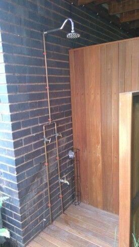 Outdoor shower in copper