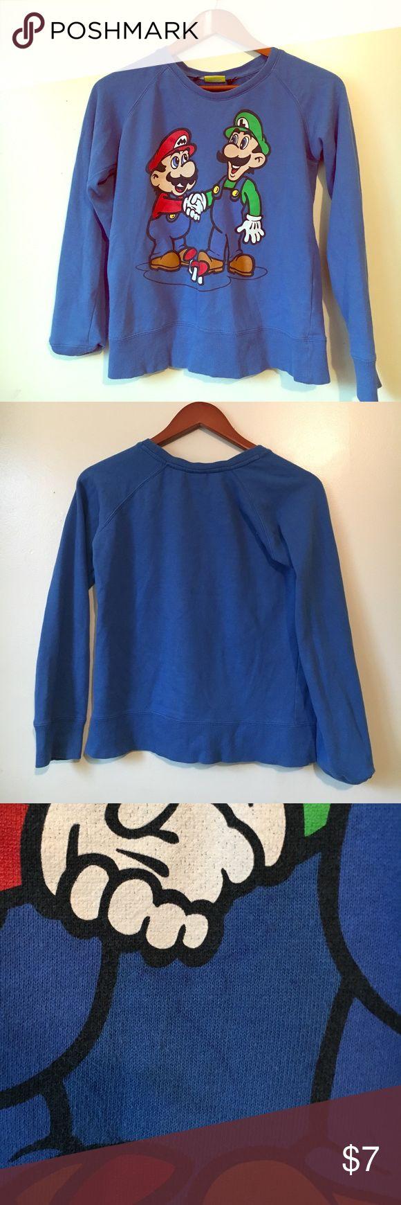 CLEARANCE SUPER MARIO BROS 3 SWEATSHIRT 🔥 Royal blue, Medium, Faint blue pen markings on bottom, A classic. Ok condition. Hot Topic Sweaters