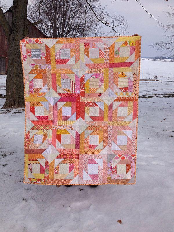 Pineapple Blossom - orange quilt Made by Hoosier Toni