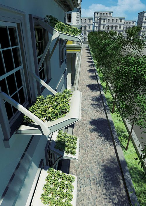 Herbow: A Flowerbed On Your Window Rain Shelter. Future Architecture, Green Technology, eco, Green Future