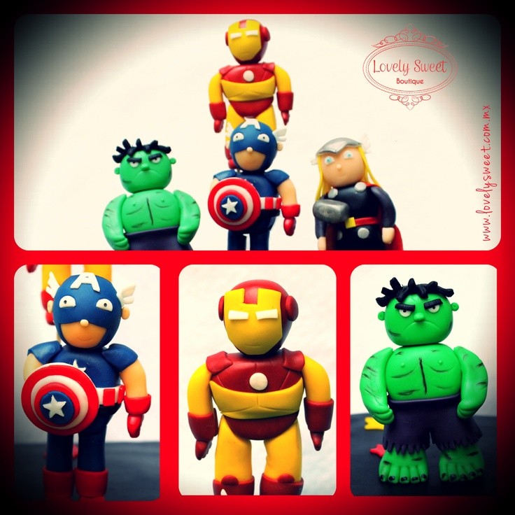 Toppers de pastel de Avengers!!!  www.lovelysweet.com.mx