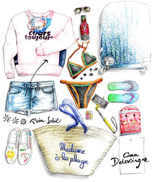 Illustration mode vêtements Cara Delevingne dessin Florence Gendre pour Figaro Madame #dessin#mode#caradelevingne