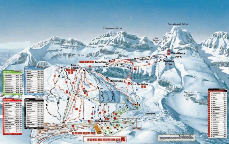 Pistekaart Candanchú Estaciones De Esqui Esquí Esquiar