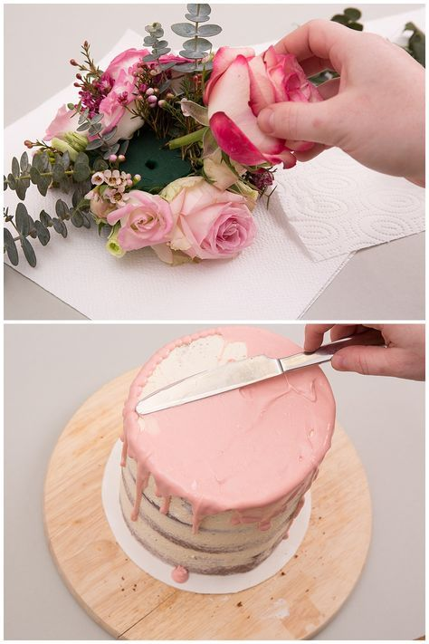 Hochzeitstorte selber backen: Naked Cake mit Blumen und Eukalyptus