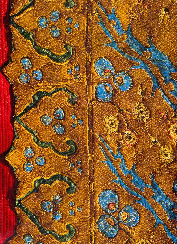 "Close up of embroidery on Red 16th c kaftan in Tapkapi Serayi Museum - from ""Silks for the Sultans"""
