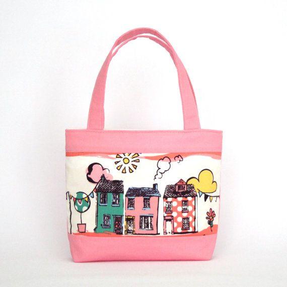 Mini Tote Bag / Girls Bag / Kids Bag  Pink Houses by VickiElle01