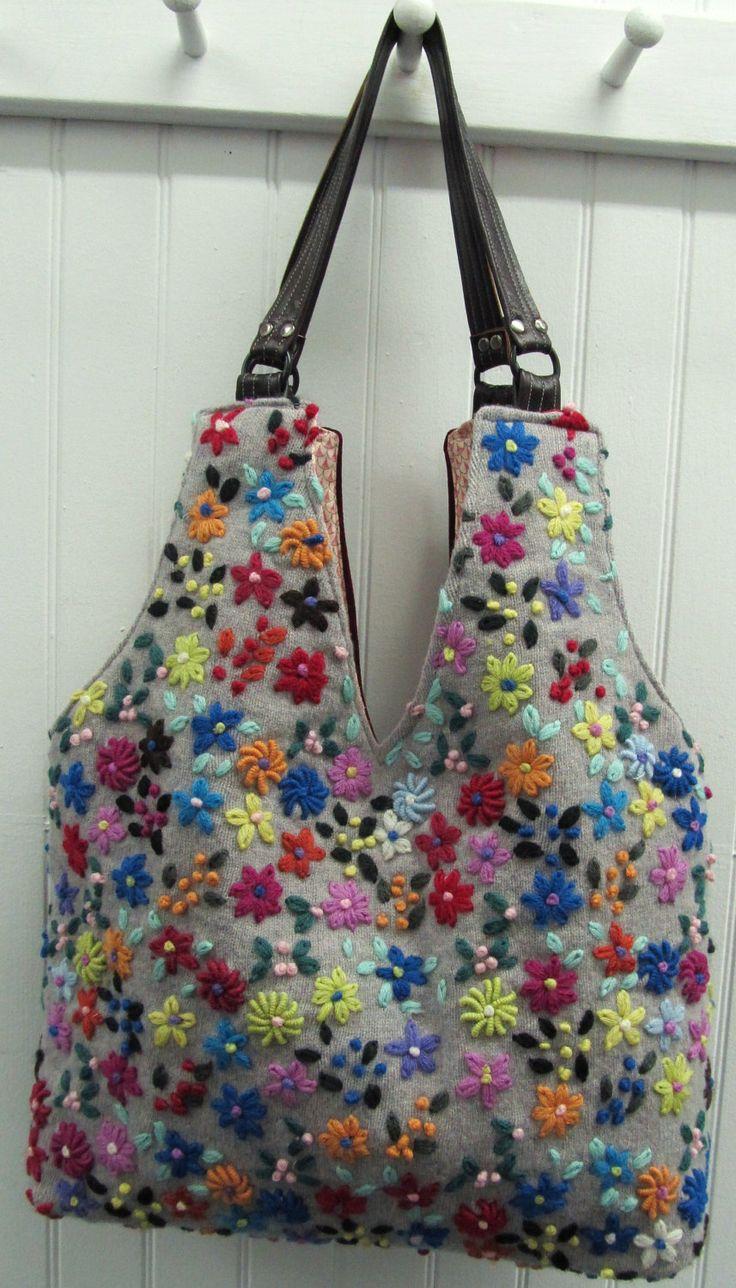 repurposed sweaters   Wild Flowers Repurposed Sweater Bag by helenshandbags on…