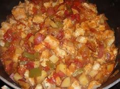 Carolina BACON CATFISH STEW * Potatoes, Tomatoes, Peppers ** REALLY GOOD! ** Please pin my Marie Callender's CORNBREAD recipe (under bread) to serve with this
