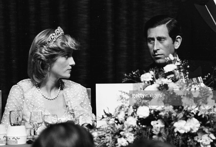 Princess Diana and Prince Charles of Wales sitting together at an official dinner in Wellington, New Zealand, April 20th 1983.
