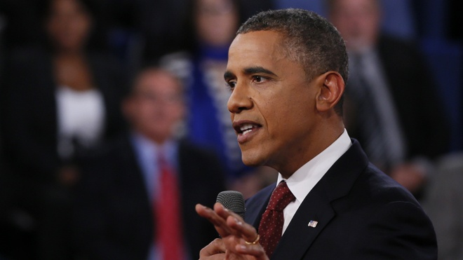 133 Bizarre coincidence -- Democrats get more time in all three debates    Oct. 16, 2012: President Barack Obama addresses members of the audience during the second presidential debate with Republican presidential nominee Mitt Romney at Hofstra University. (AP/Reuters Pool)    Oct. 17, 2012