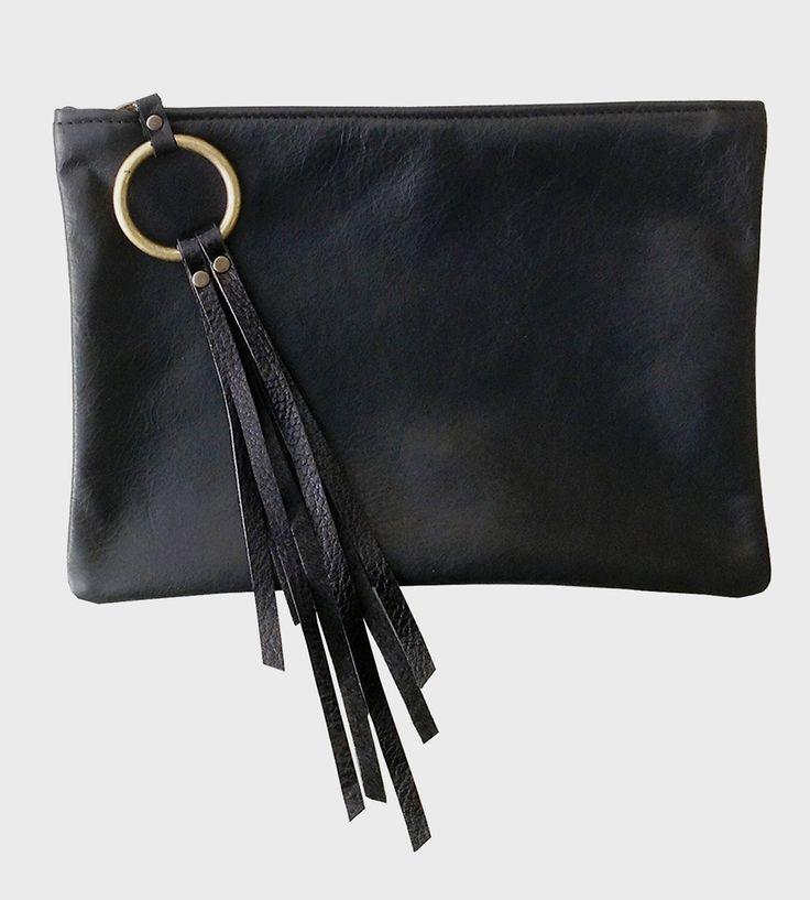 Black Fringe Leather Clutch