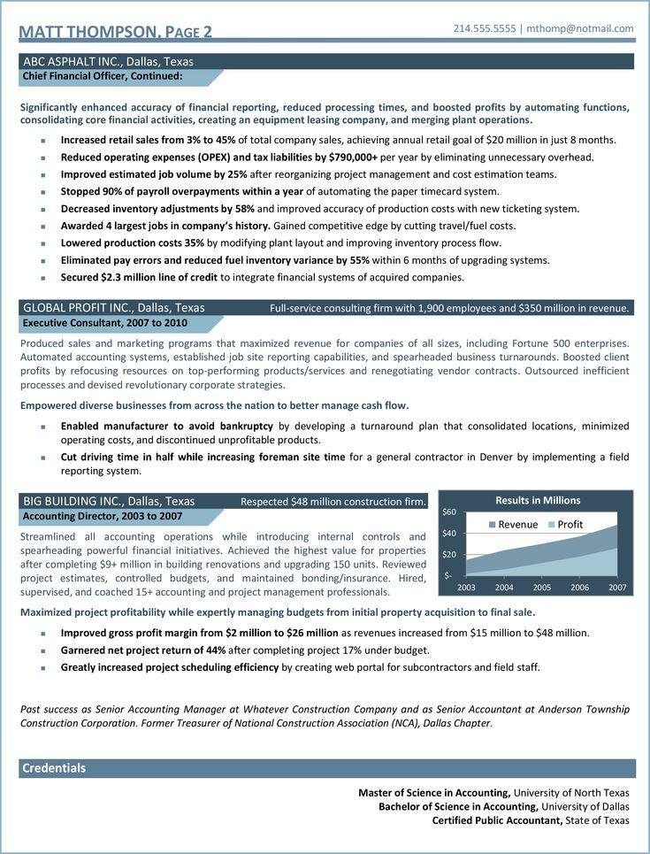 Chief financial officer resume example resume chief