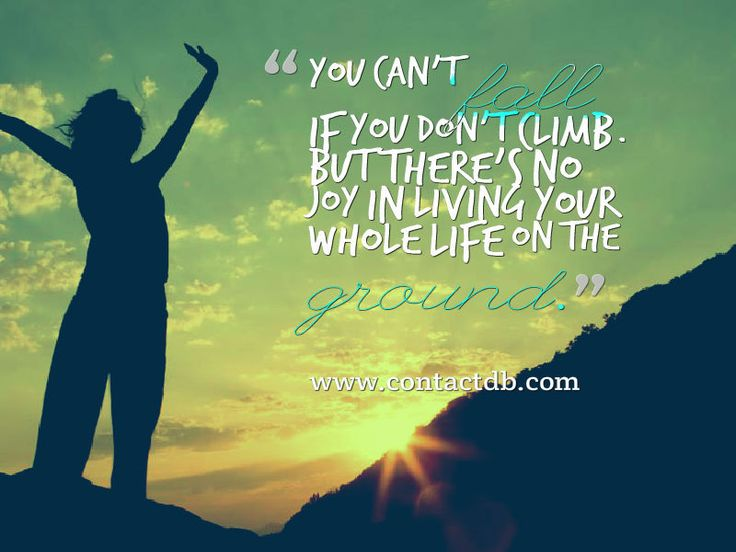 """""""You can't fall if your don't climb. But, there's no joy in living your whole life on the ground."""" www.contactdb.com #success #struggles #quotes #inspirational #mountain"""