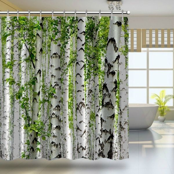 Custom Shower Curtain Birch Trees In The Forest Summertime