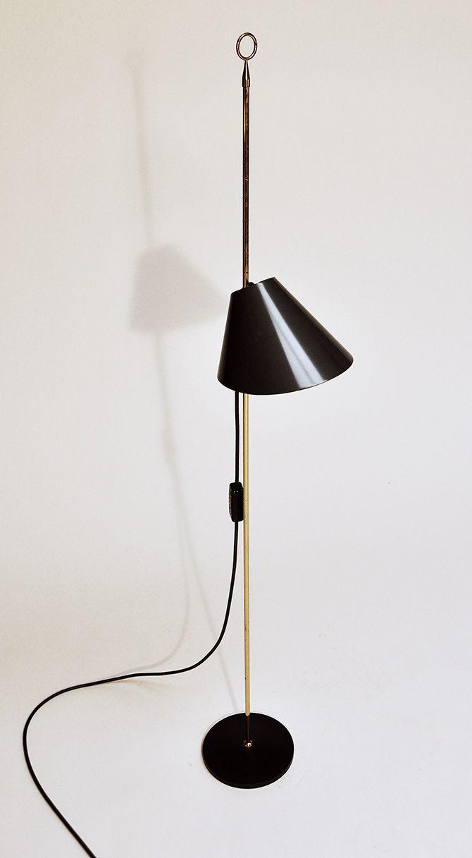 Luigi Caccia Dominioni; Brass, Enameled Aluminum and Iron 'Monachella' Lamp for Azucena, 1953.