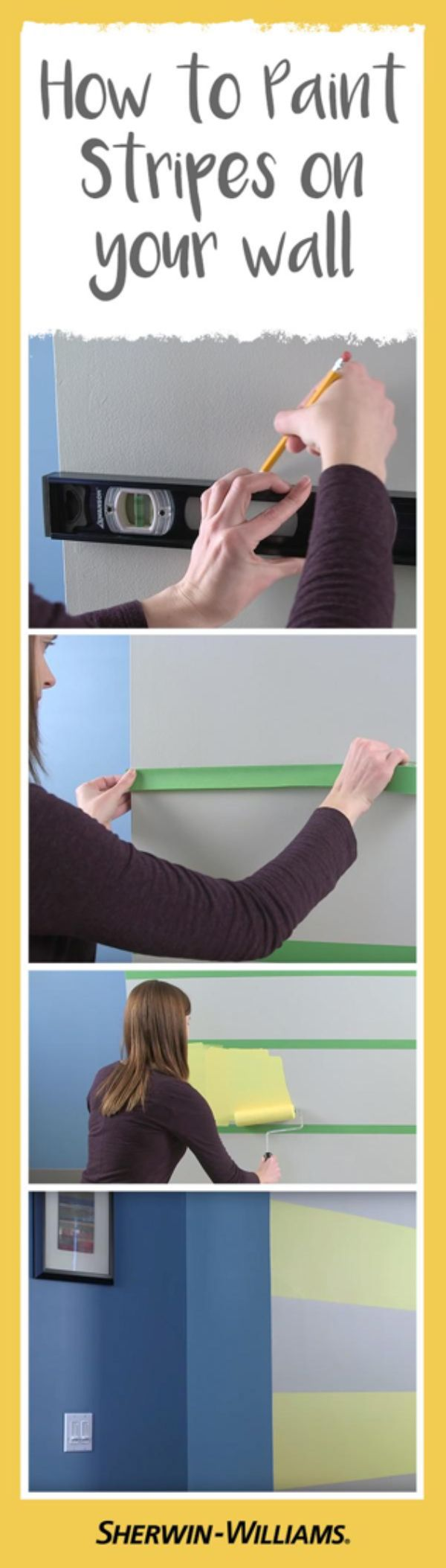 Painting stripes on your wall has never been easier: Just measure, tape and paint.